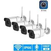 Sistema de cámara de seguridad inalámbrica 1080P IP Cámara Wifi tarjeta SD al aire libre 4CH Audio CCTV sistema Video vigilancia Kit Camara