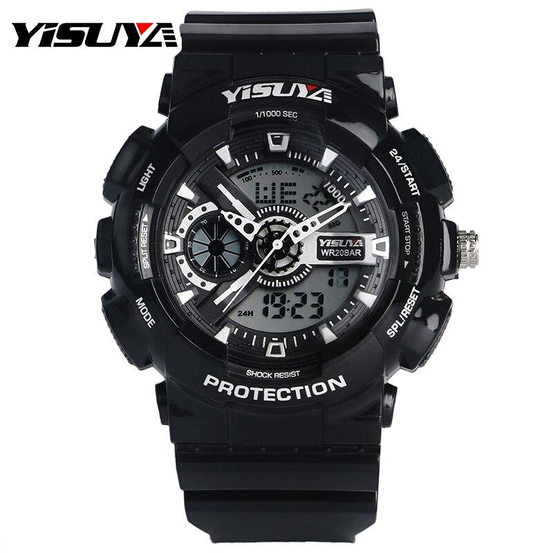 ФОТО YISUYA Men's Quartz Watch with Analogue Digital Chronograph Display and Resin Bracelet Outdoor Sport Watches Erkek Kol Saati