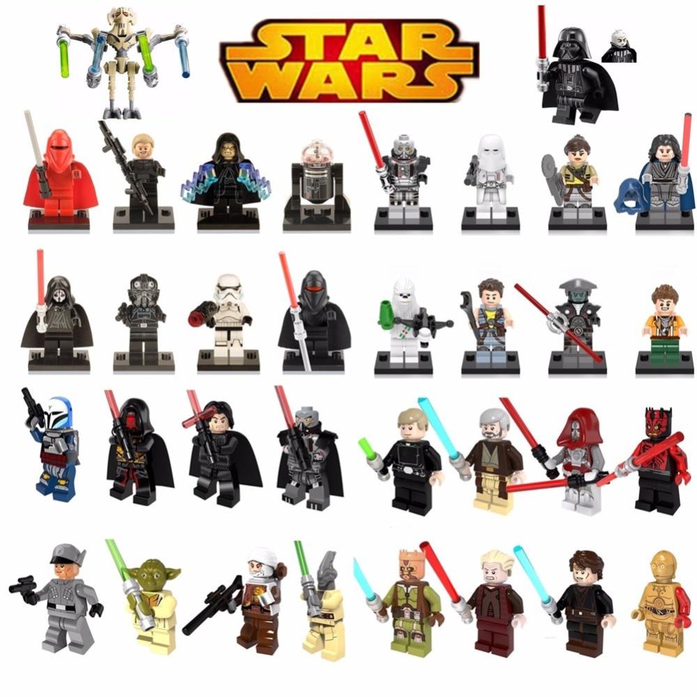 Venta única legoing estrella bloques de construcción Wars Luke Leia Han Solo Anakin Darth Vader Yoda tarro juguetes legoings cifras bk30