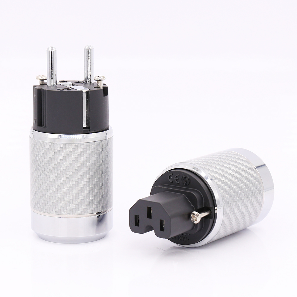Hi-End Carbon Fiber Rhodium Plated EU Power Plug hifi IEC Female Plug carbon fiber rhodium plated us power plug connector iec audio plug hifi