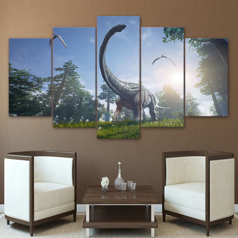 Modern painting on canvas wall art pictures home decoration posters frame 5 panel animal dinosaurs living room hd printed in painting calligraphy from