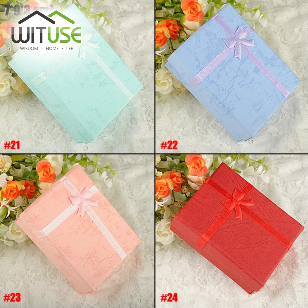 Cheap Sale 1pc/Lot 9 X 7 X 3 Cm Paper Square Package Bowknot Jewelry Necklace Bracelet Present Gift Box Case