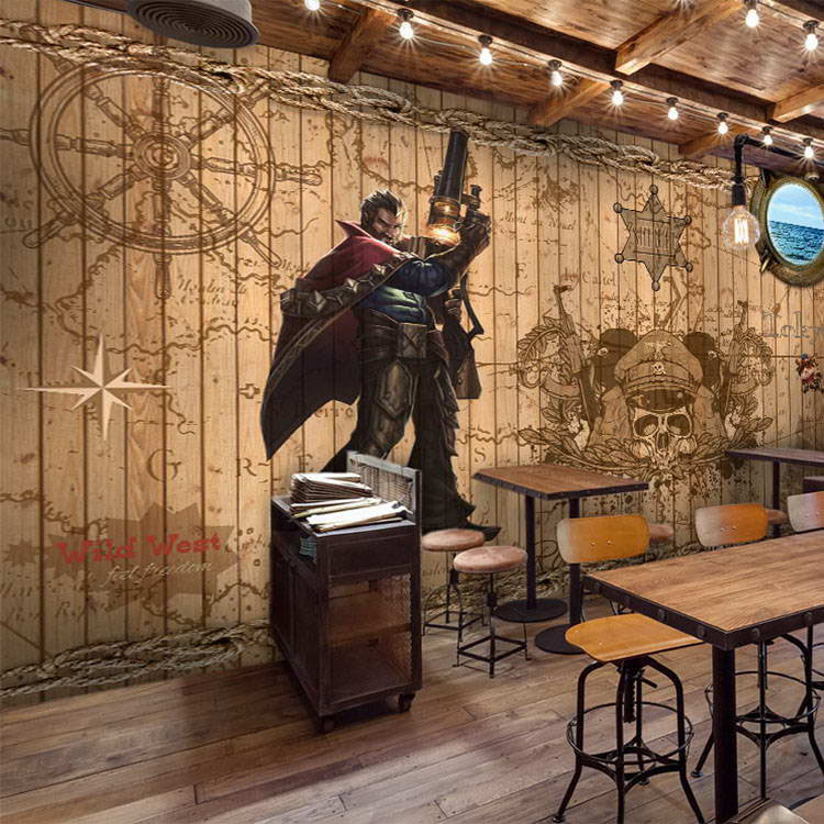 Free Shipping bar KTV Internet cafe restaurant pirate theme wallpaper mural 3D retro cartoon wallpaper