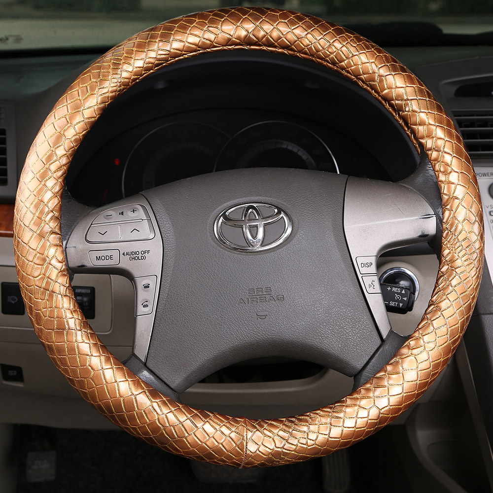 Car steering wheel cover leather sets Italy imported snakeskin pattern pure leather steering wheel cover