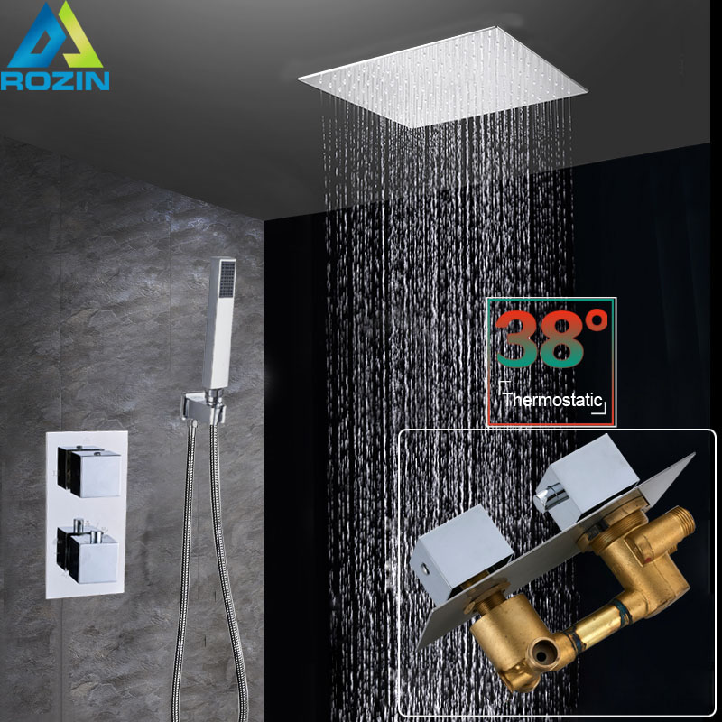 """Thermostatic Valve 16"""" Big Rainfall Shower Mixers Wall Mounted Stainless Steel Shower Head Chrome Bathroom Shower Faucet System  グループ上の 家のリフォーム からの シャワー 蛇口 の中 1"""