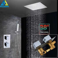 "Thermostatic Valve 16"" Big Rainfall Shower Mixers Wall Mounted Stainless Steel Shower Head Chrome Bathroom Shower Faucet System"