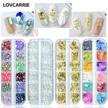 цена на 12 Grid Multi-size Nail Rhinestones 3D Crystal Strass Nail Art Charms Stones Gems Pearl for DIY Nail Art Decoration Accessories