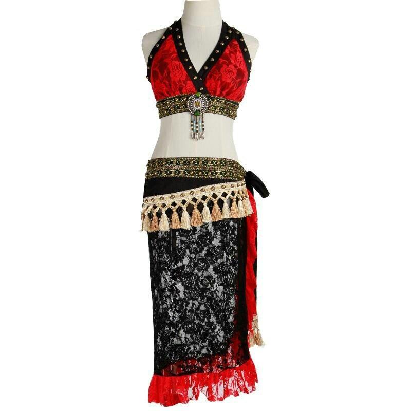 Tribal Belly Dance Costume Set 2 Pieces Outfit Bra Cup A/B/C/D Lace Hip Scarf Women Dancewear Plus Size Tribal Costume