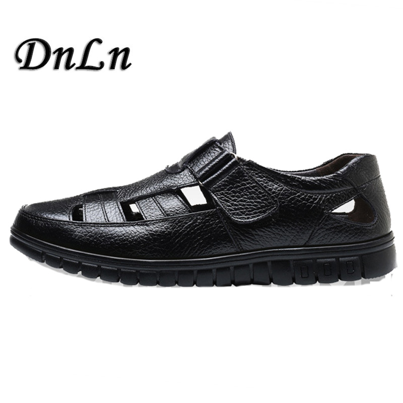 Summer Mens Real Leather Casual Close Toe Hook Loop Sandals Comfy Sport Outdoor Hollowed-Out Beach Shoes
