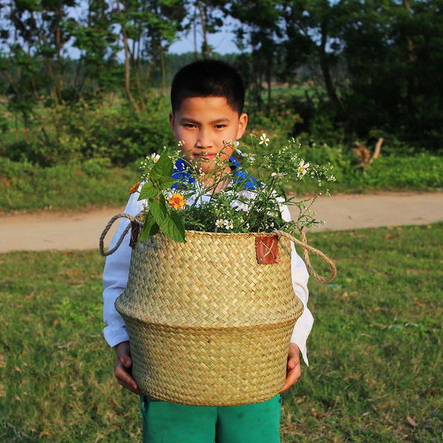 WHISM Artesanal Dobrar Seagrass Rattan Cesta De Armazenamento Do Ventre Dobrável Vaso de Flor De Vime Pendurado cesta De Armazenamento Cesto de roupa suja