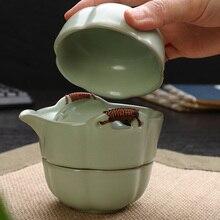 [GROßARTIGKEIT] Ruyao Tee satz Umfassen 1 Topf 2 Tassen, Gaiwan keramik teekanne tasse tragbare reise kung fu tee-set Ru brennofen Celadon