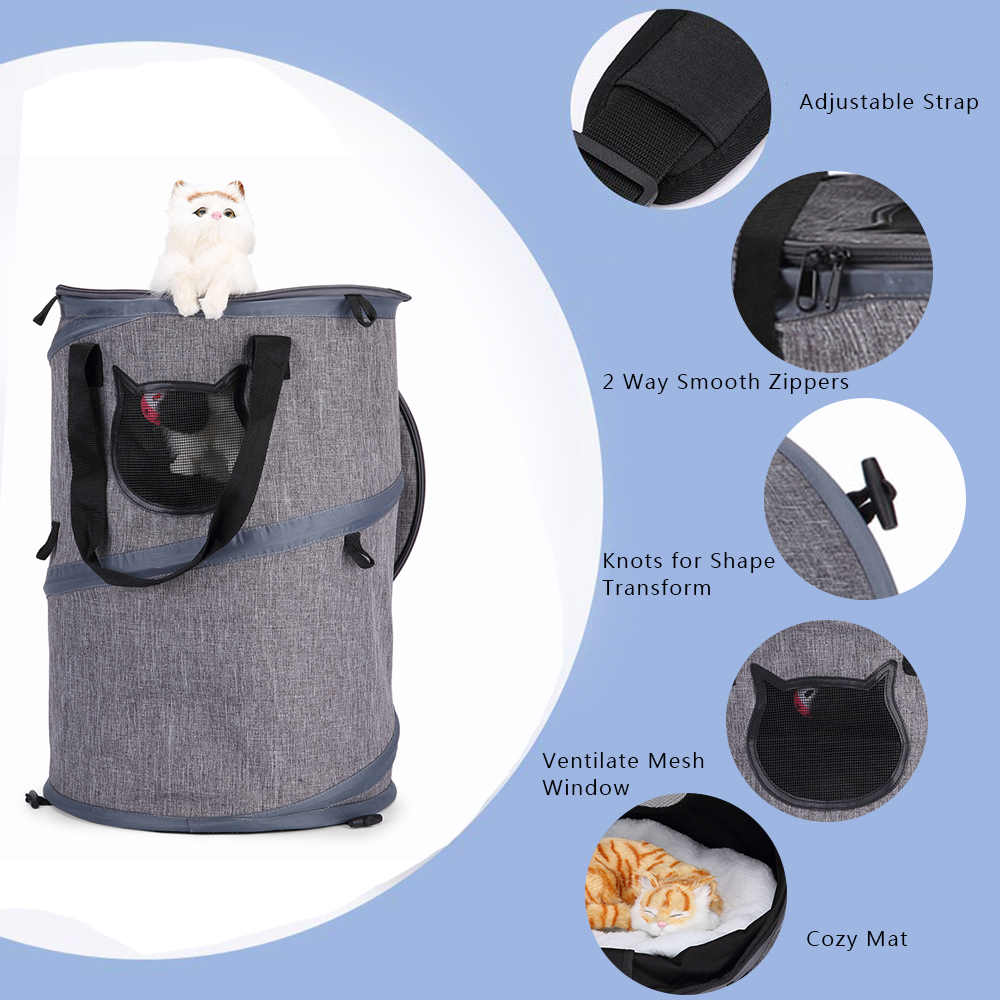 Portable 3 in 1 Cat Collapsible Carrier Breathable Cat Dog Carrier with Cushion Scratch Ball Tunnel for Cat Kitten Dogs