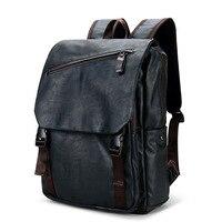 2019 New Brand Designer Men PU Leather Backpack Vintage Daypack Multi Pocket Casual Rucksack Vintage Handmade Tote High Quality