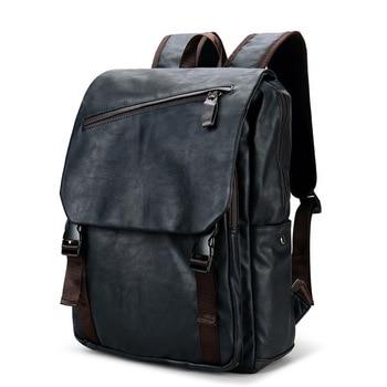 New Brand Designer Men PU Leather Backpack Vintage Daypack Multi Pocket Casual Rucksack Handmade Tote High Quality