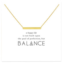 Minimalist Hollow Balance Bar Pendant Necklace For Women
