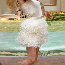 2f8e2d54e4 Extra completa waisted Plumas falda avestruz Plumas corta Plumas falda  marfil beige largo de cremallera estilo