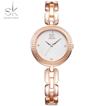SK New Fashion Rose Golden Women's Bracelet Watches Diamond Luxury Top Wristwatch Stainless Steel Strap Quartz Simple Time 2018 image