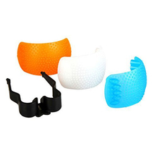 3pcs White Yellow Blue Color Puffer Pop-Up Flash Soft Diffuser Cover Dome for Speedlite CanonPentax Camera DSLR