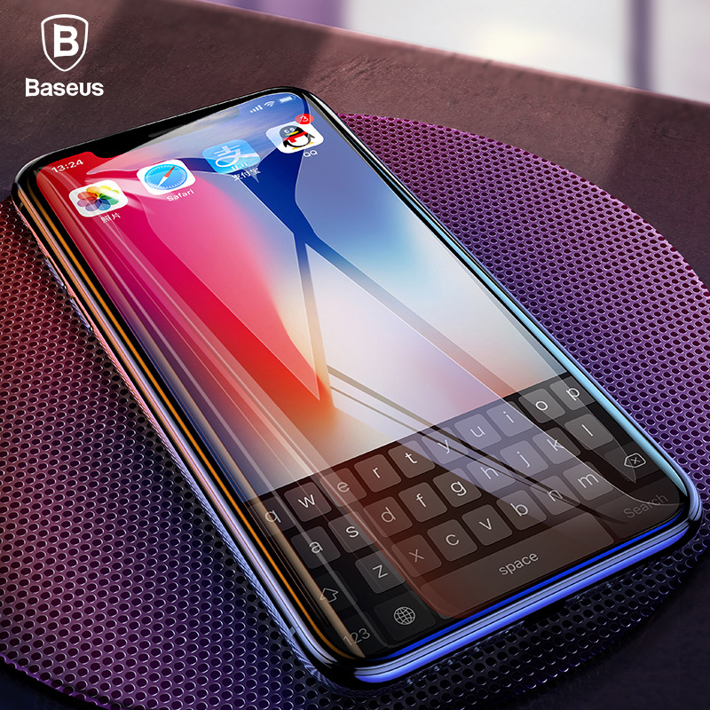 Baseus 0.2mm Screen Protector Tempered Glass For iPhone X IX Soft Edge Full Cover Protection Toughened Glass Film For iPhone 10