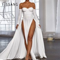 Yissang Women White Dress long Off Shoulder summer Maxi Dress 2018 High Split sexy Party Dresses Elegant Vestidos