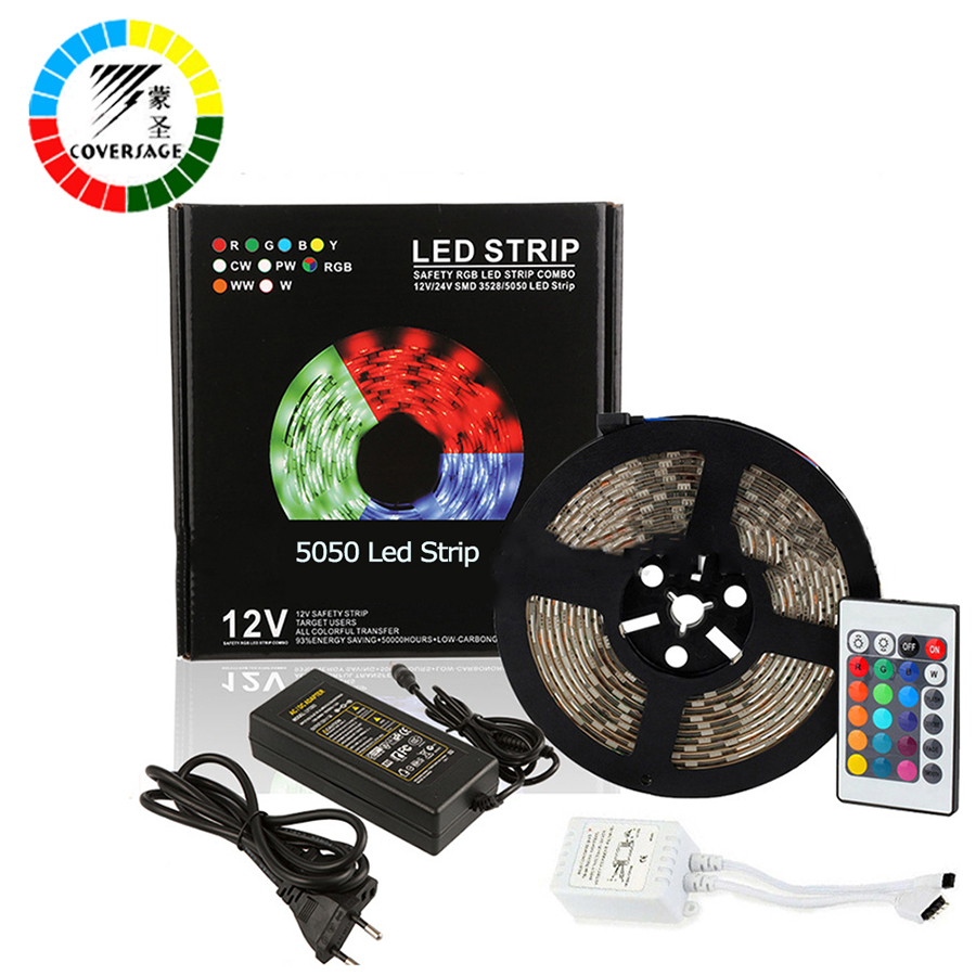 Coversage RGB 5050 Led Strip 5M 300Leds IP65 Waterproof Light Ceiling DC12V 60Leds/M With Remote Controller Home Decoration Lamp