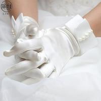 White Beige Pearl Short Bridal Gloves Wedding Guantes De Novia Figner Satin Gloves Accessories Bridal Gloves High Quality CK211
