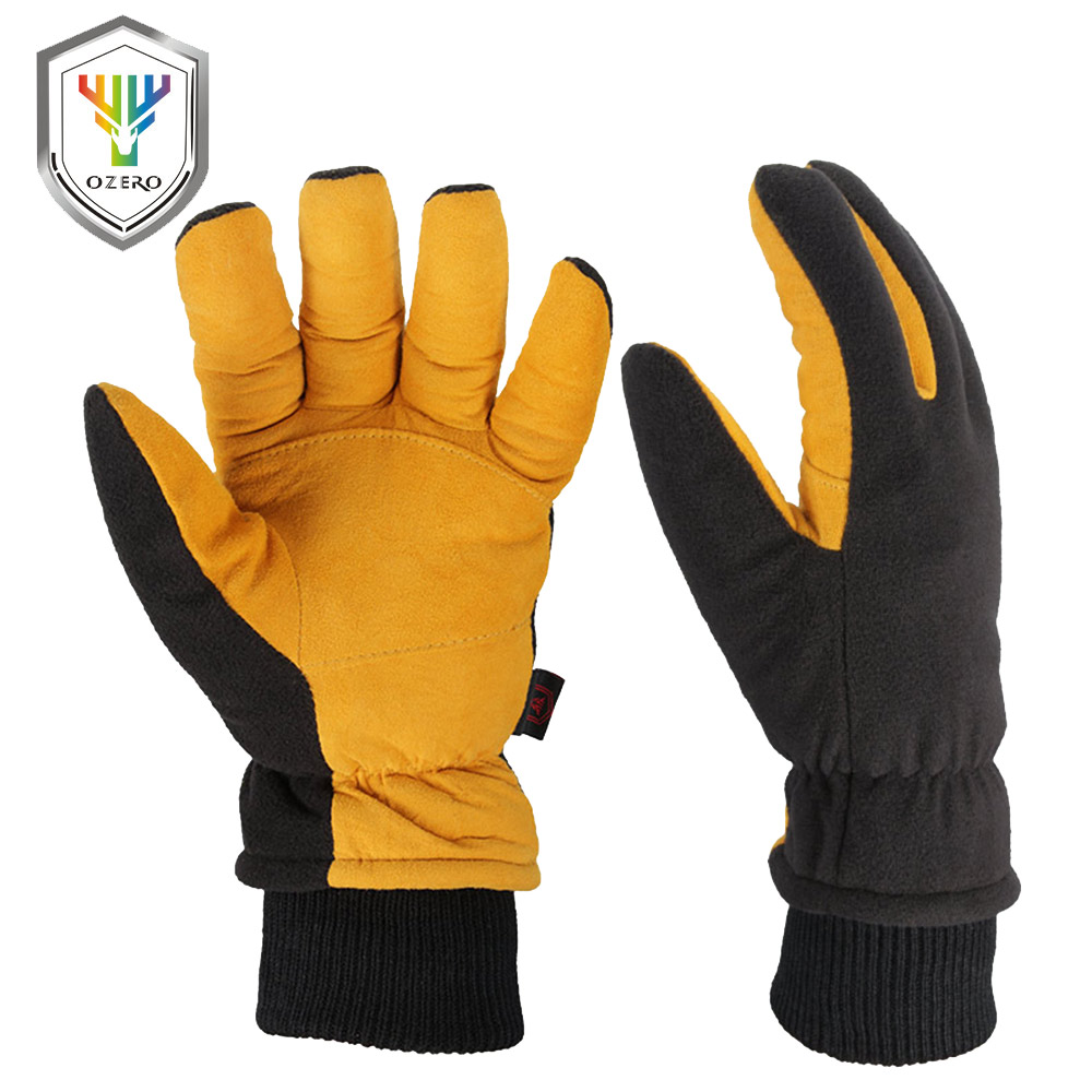 Ozero Ski Gloves Genuine Deerskin  Outdoor Sport Warm Skiing And Fleece Winter Windproof Sports Gloves For Men And Women 8008