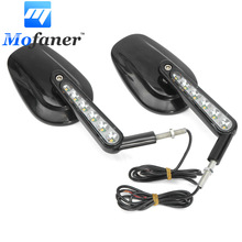 1 Pair Black Rear View Left Right Mirrors With LED Signal Light Fit For Harley