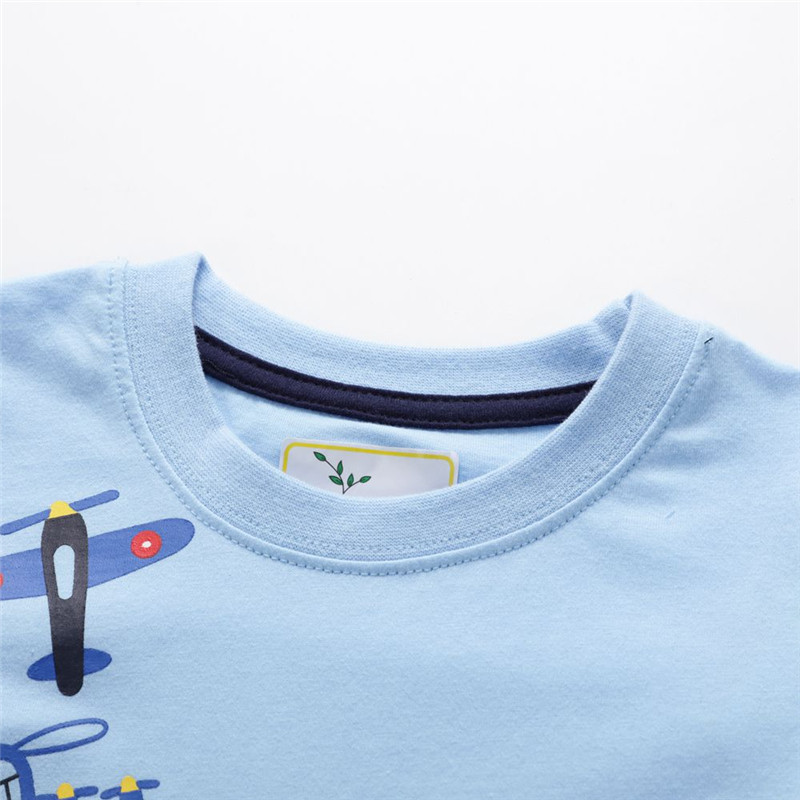 HTB1zFZsaOHrK1Rjy0Flq6AsaFXa9 Jumping meters Boys Cartoon aircrafts T shirts Summer Cotton Kids Tees Print character Short sleeve Children Clothes Boy T shirt