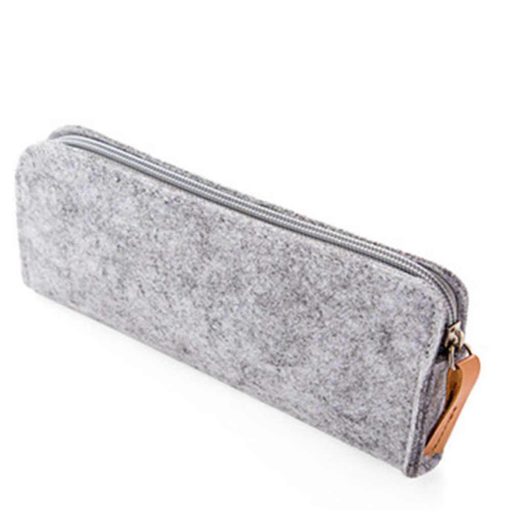 새로운 패션 라운드 스퀘어 펠트 메이크업 화장품 가방 브러쉬 펜 연필 케이스 파우치 박스