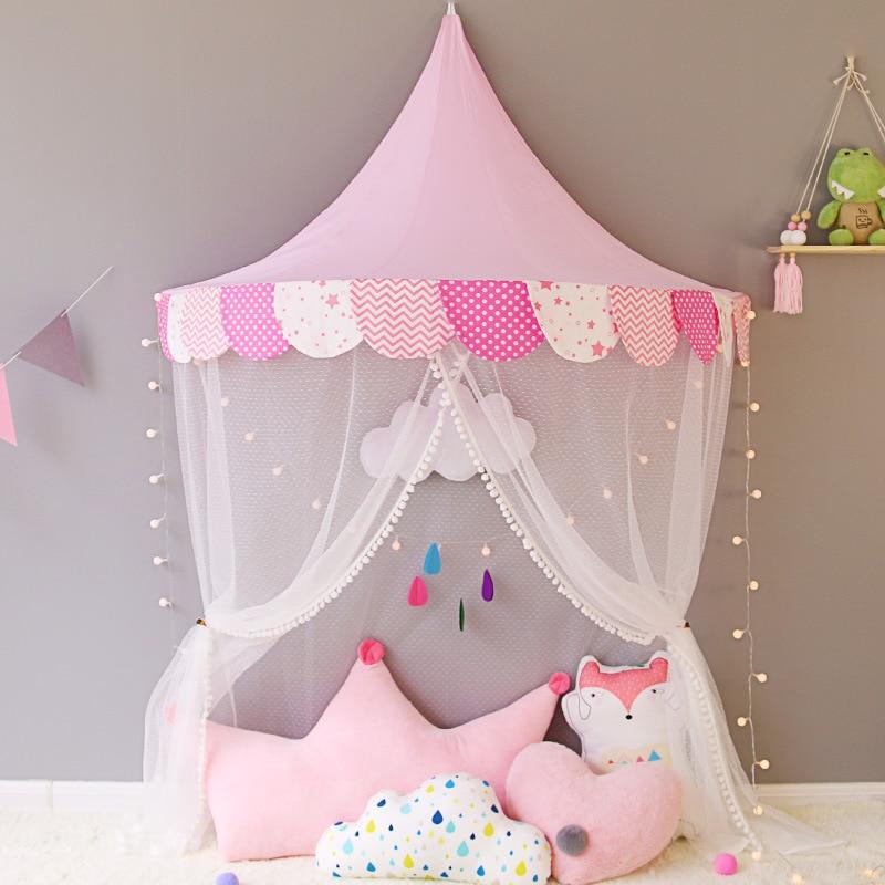 Детская кроватка с сеткой принцесса купол кровать навес детское постельное белье круглый кружево Москитная сетка для ребенка спальный 6 цв