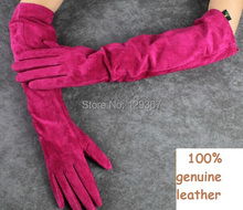 Autumn and winter women's 100% genuine leather 45cm long gloves sheepskin goat leather gloves soft suede glove