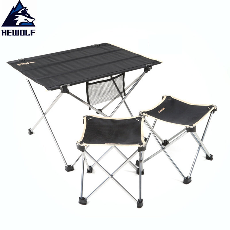 Hewolf Ultralight Outdoor Tools Camping Table&Chairs Aluminum Alloy Bracket+600D Oxford Fabric Portable Camping Tables Chairs ultralight aluminium alloy camping mats