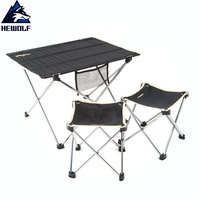 Hewolf Ultralight Outdoor Tools Camping Table&Chairs Aluminum Alloy Bracket+600D Oxford Fabric Portable Camping Tables Chairs