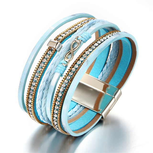 Новые богемные бусы кожаные браслеты со стразами женские Многослойные