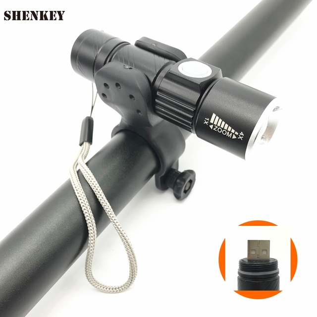 New USB Rechargeable Bicycle Light Ultra Bright Stretch Bicycle Front Flashlight Bike Cycling Light  Zoom Torch + Bike Holder