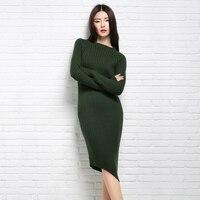 JUANBO Meninas 2017 Inverno Nova Gola Alta Moda Vestido Suéter de Cashmere Irregular Hem Oblíqua Fino Camisa Authentic Frete Grátis