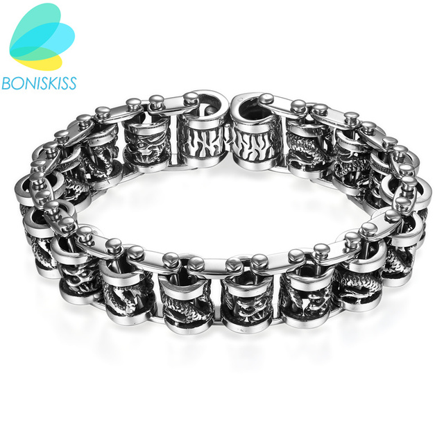 Boniskiss Arrogance Stainless Steel Dragon Bracelet Men Gothic Punk Chain Link Mens Bracelets Bangles Jewelry