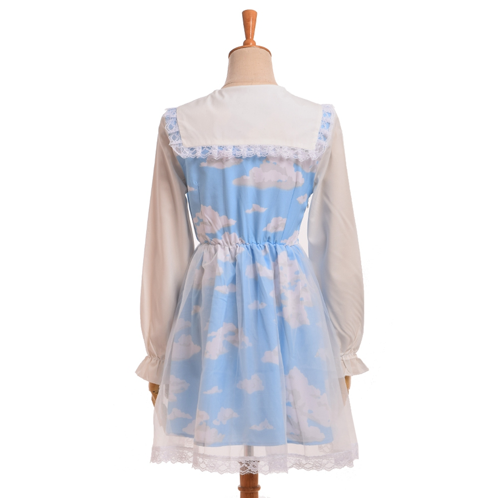 Layers Lolita Sleeve Sailor Cloud Dress Blue short White Bow Girls Double Sleeve 1pc Organza Collar Sky Long 7qASSw