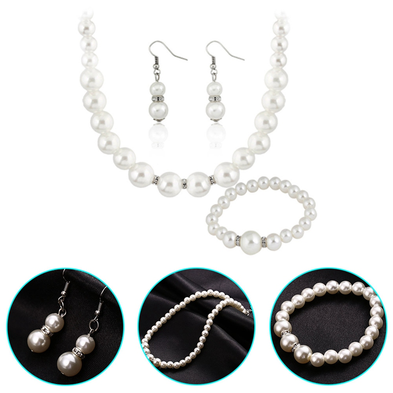 Fashion Classic Imitation Pearl Gold Color Top Elegant Party Gift Fashion Costume Pearl Necklace Earrings Bracelet Jewelry Sets