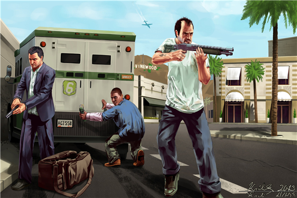 Custom Canvas Art Grand Theft Auto Poster GTAV5 Wallpaper Gaming San Andreas Wall Stickers Decoration In From Home