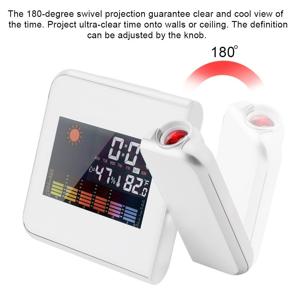 Projection Digital Weather Black LED Alarm Clock Snooze Color Display / LED Back