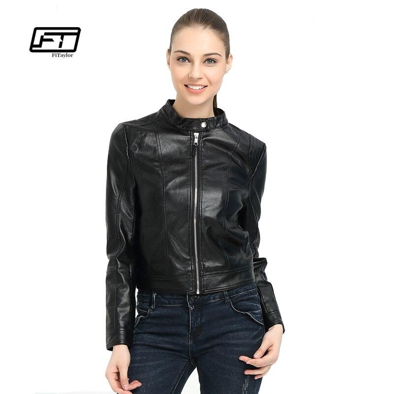 Fitaylor Women Faux PU Leather Jackets Biker Coat Black Zippers Women Slim Motorcycle Jacket Coats O Neck Bomber Jacket leather jacket