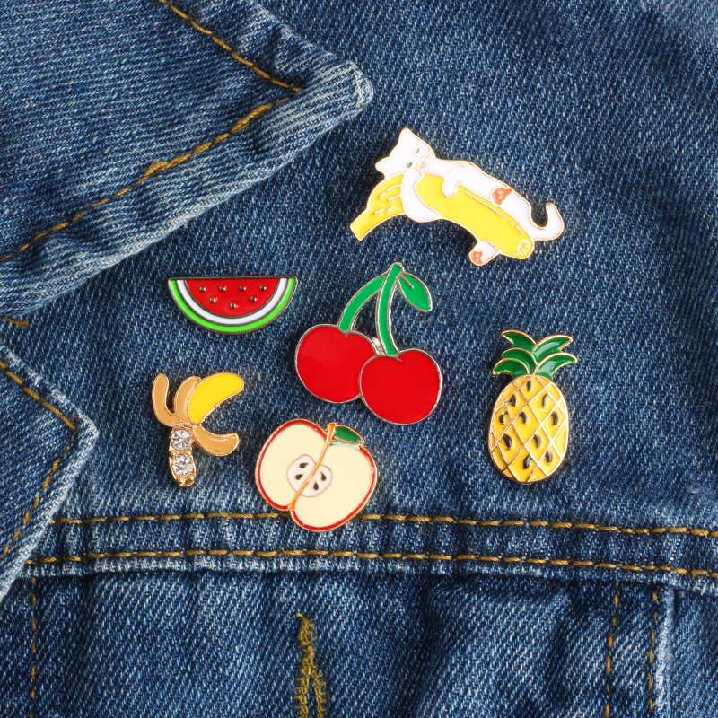 Cartoon Brooch Metal Enamel Pins Badges Pin Button Apple Watermelon Pineapple Cat Hold Banana Cherry Pin Denim Jacket Jewelry image