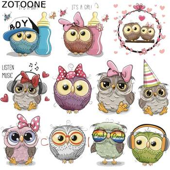 ZOTOONE Owl Animal Heat Transfer Patches for Clothing Sticker DIY Cute Iron On Letter Transfert Thermocollants T-shirt Printed G бра vittam 3590 1w