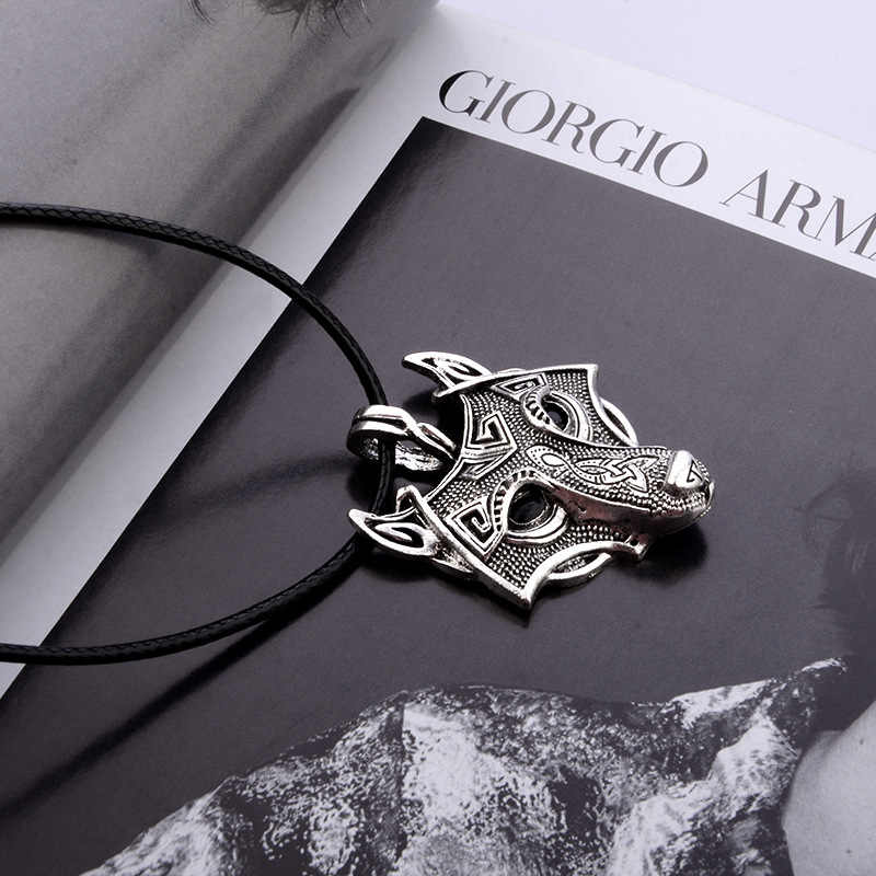 High Quality 1pcs Norse Vikings Pendant Necklace Norse Wolf Head Necklace Original Animal Jewelry Wolf Head hange drop shipping