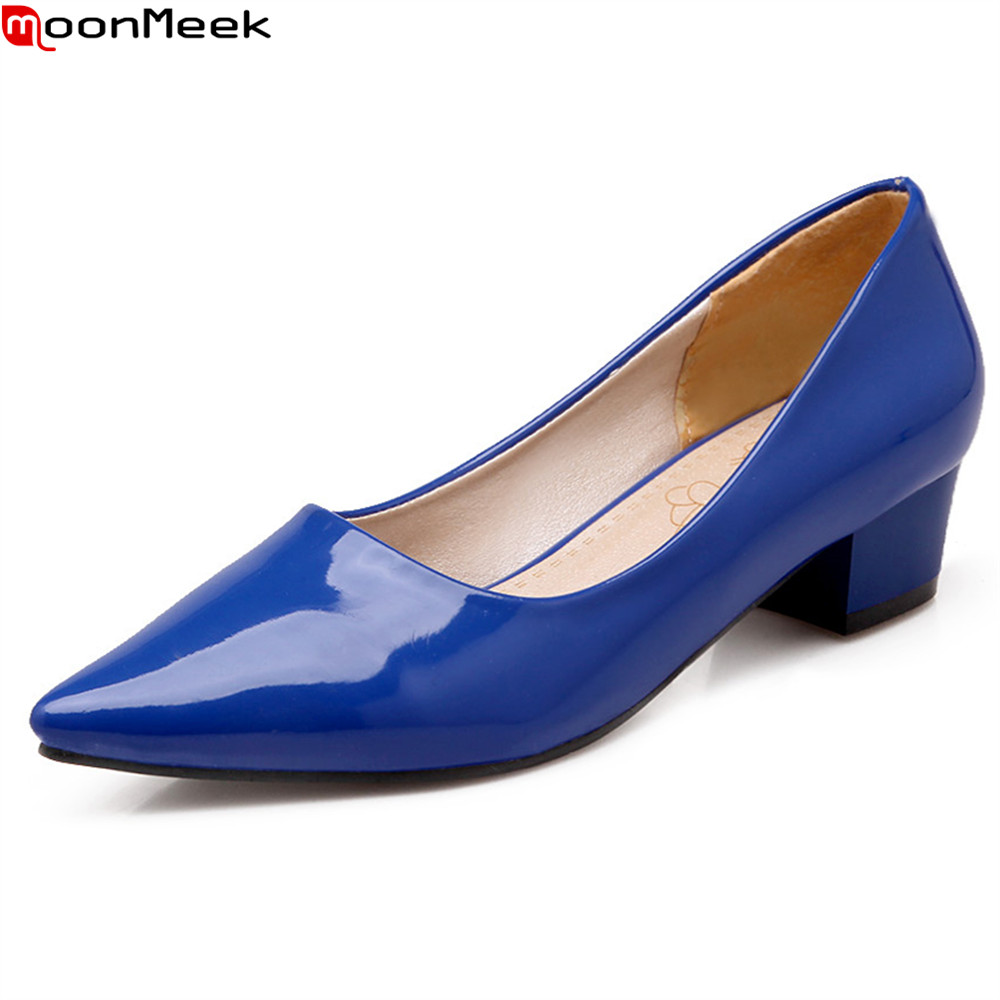 MoonMeek  new 2018 med heels shoes pointed toe slip on casual dress shallow square heel red blue yellow color women pumps 2017 shoes women med heels tassel slip on women pumps solid round toe high quality loafers preppy style lady casual shoes 17