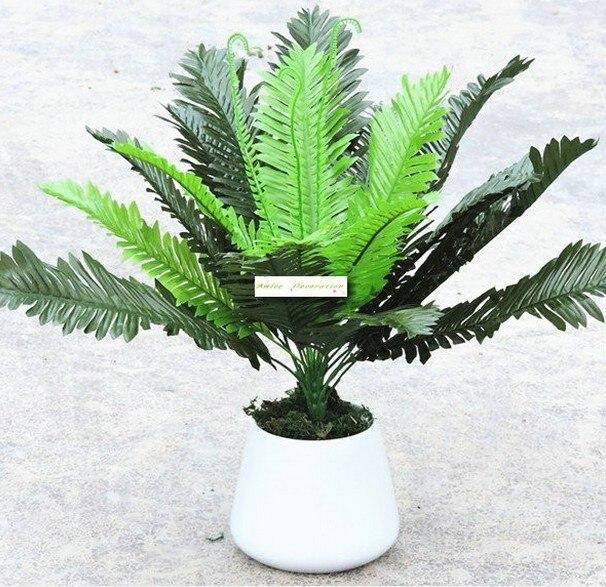 47cm 24 Leaf  Artificial Boston Fern Bush Evergreen Palm Plant Tree Wedding Home Office Furniture Decor No Vase Green F458