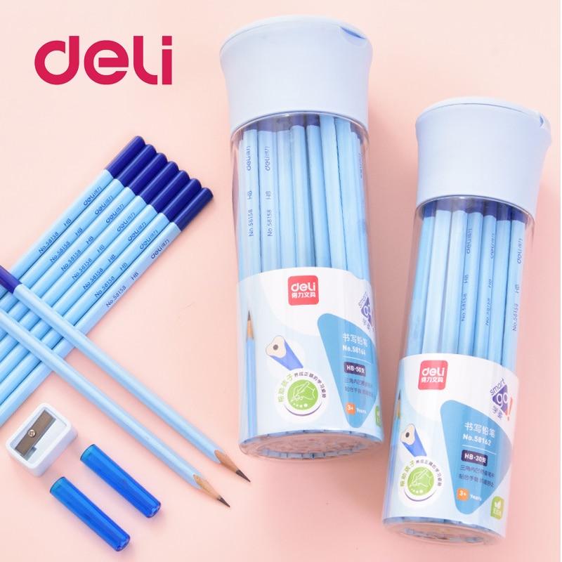 Deli Professional 30Pcs HB black Sketch Charcoal triangle Standard Pencil Drawing Pencils Set 2B Tool Painting Art Supplies