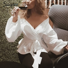Simplee White office lady elegant blouse Lantern sleeve peplum off the shoulder blouse shirt Autumn sexy women tops and blouses